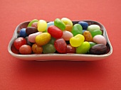 Colourful jelly beans in a ceramic bowl