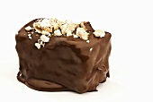 Dark Chocolate Covered Brownie with Nuts; White Background