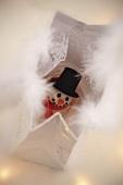 A marzipan snowman as a gift