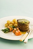 Beef fillet with parsley butter and a side of vegetables