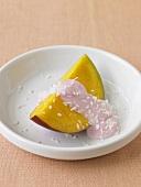 Slice of Mango with Strawberry Yogurt and Shredded Coconut