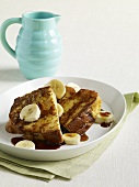 French Toast with Banana Slices and Maple Syrup