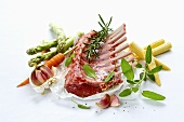 Rack of lamb with fresh vegetables