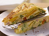 Country-style omelette with potatoes and vegetables