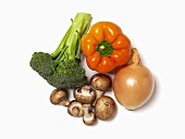 Mixed Fresh Vegetables; White Background