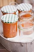 Apricot jam in jars