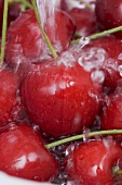 Cherries being washed (close up)