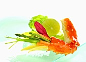 Poached crab with vegetable crudites