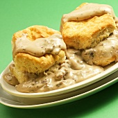 Two Biscuits with Sausage Gravy