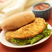 Breaded Fried Chicken Tender Sandwich; Barbecue Sauce