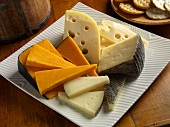 Cheddar, Baby Swiss and Manchego Cheese on a Plate; Crackers