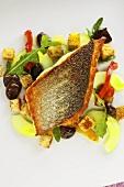 Bass on Ligurian bread salad