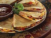 Smoked Pork Loin Quesadillas with Barbecue Sauce