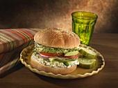 Veggie Sandwich with Cream Cheese Pesto Spread; Pickles