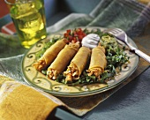 Grilled Chicken Taquitos with Guacamole and Sour Cream