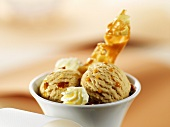A bowl of caramel ice cream
