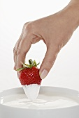 Hand dipped strawberries in organic yogurt