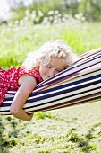 Little blond girl resting