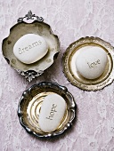Antique dishes with engraved pumice