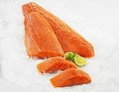 Salmon fillet on ice