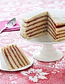 Strawberry Stack Cake; Slice on Plate; Cake on Pedestal Dish