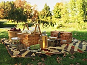 A picnic blanket and picnic baskets on a field