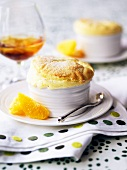 Orange souffle garnished with fresh oranges