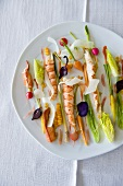 Gambas with vegetables