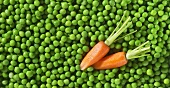 Frozen peas and fresh carrots