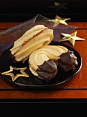 Shortbread biscuits with chocolate and jam filling