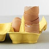 Gestapelte Eierschalen in gelber Eierschachtel