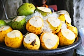 Young coconuts on ice, ready-to-drink