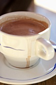 Cup of Hot Chocolate; Spilled Over the Rim