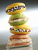 A stack of various whoopie pies