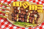 Elk Kabobs with Crimini Mushrooms and Onion; Corn on the Cob