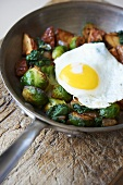 Pan Roasted Potatoes with Brussels Sprouts and Fried Egg