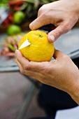 Deckel von Zitrone abschneiden