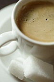 Espresso in a White Cup with Sugar Cubes