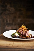 Sliced Goose with Brussels Sprouts and Figs