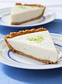 Two Slices of Key Lime Pie on Plates