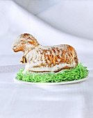 An Easter lamb with Easter grass