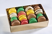 A box of colourful macaroons