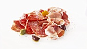 Parma ham and salami with olives