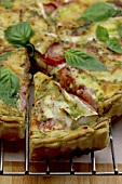 Tomato quiche with brie and basil