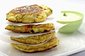 Courgette cakes with lemon aioli