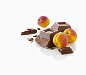 Apricots and pieces of chocolate