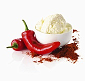 Cottage cheese, red chili peppers and chili powder