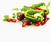 Green pepper, red chili peppers, dates and cilantro