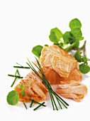 Poached salmon with chives and water cress
