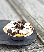 Mini Chocolate Banana Cream pie in a Disposable Baking Tin